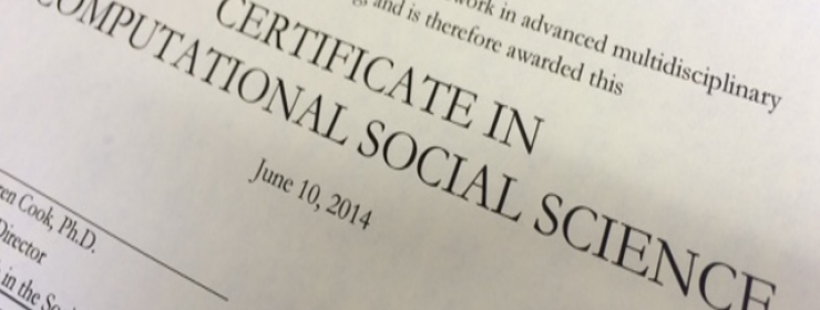 paper certificate showing completion of the computational social science program