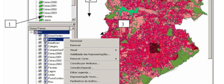 geographic information system showing image of a map with different sections colored different shades of pink and green