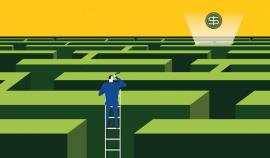 cartoon image of man climbing on ladder to look above maze