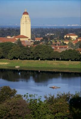 image of hoover tower, large vertical tower near lake
