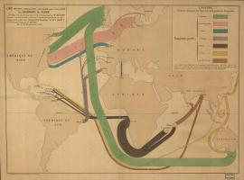old style map of migration between world countries