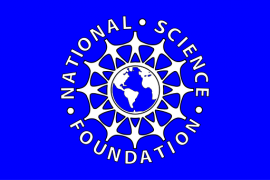 national science foundation logo: white globe surrounded by people holding hands on blue background