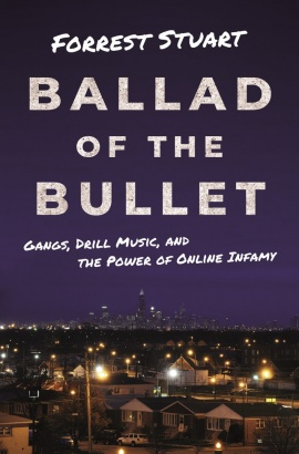 Book cover for Ballad of the Bullet showing a contrast between the Chicago skyline at night in the background and a neighborhood in the foreground.