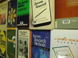 wall in bookstores with several books on the topic of survey research