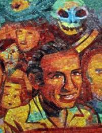 colorful mural of mexican-americans