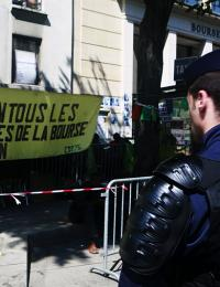 people protest immigration policy in france
